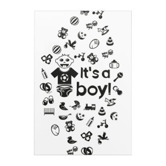 Illustration black IT'S A BOY! Acrylic Wall Art