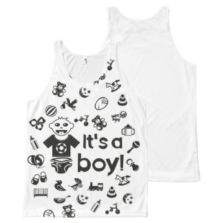 Illustration black IT'S A BOY! All-Over-Print Tank Top