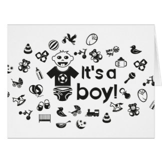 Illustration black IT'S A BOY! Card