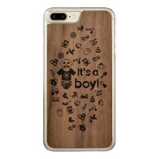 Illustration black IT'S A BOY! Carved iPhone 7 Plus Case