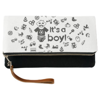 Illustration black IT'S A BOY! Clutch