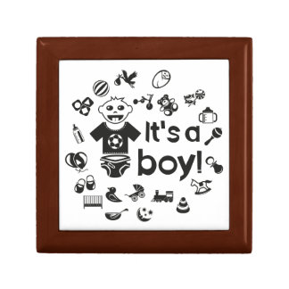 Illustration black IT'S A BOY! Gift Box