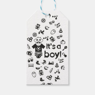 Illustration black IT'S A BOY! Gift Tags