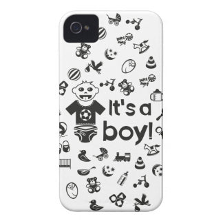 Illustration black IT'S A BOY! iPhone 4 Covers