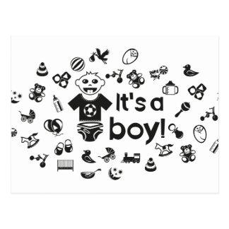 Illustration black IT'S A BOY! Postcard