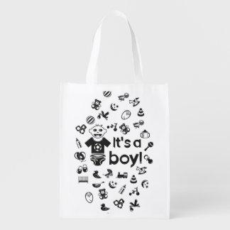 Illustration black IT'S A BOY! Reusable Grocery Bag
