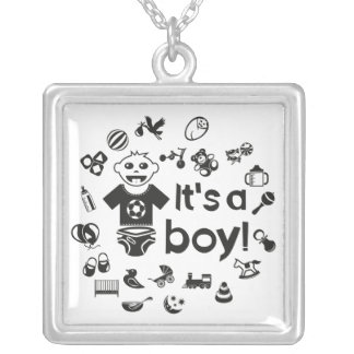 Illustration black IT'S A BOY! Silver Plated Necklace