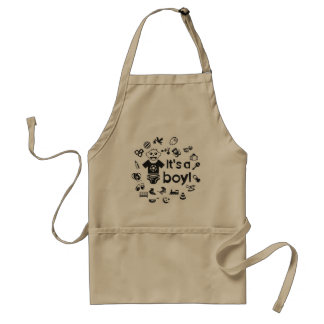 Illustration black IT'S A BOY! Standard Apron