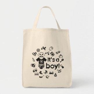 Illustration black IT'S A BOY! Tote Bag