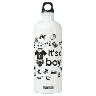 Illustration black IT'S A BOY! Water Bottle