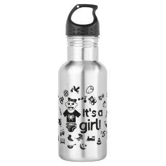 Illustration black IT'S A GIRL! 532 Ml Water Bottle