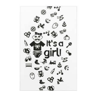 Illustration black IT'S A GIRL! Acrylic Print