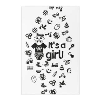 Illustration black IT'S A GIRL! Acrylic Wall Art