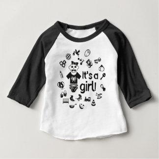 Illustration black IT'S A GIRL! Baby T-Shirt