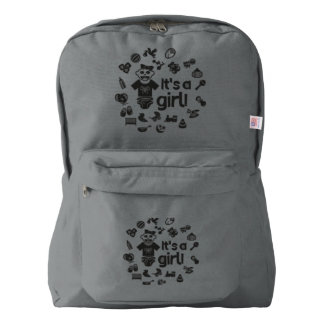 Illustration black IT'S A GIRL! Backpack