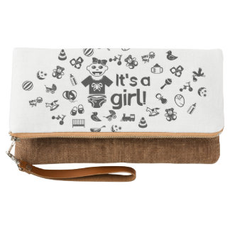 Illustration black IT'S A GIRL! Clutch