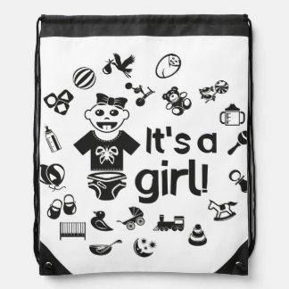 Illustration black IT'S A GIRL! Drawstring Bag