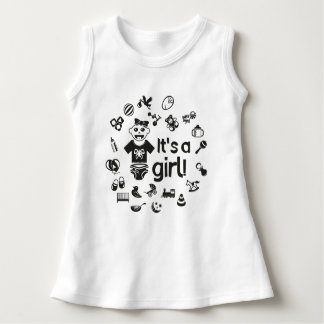Illustration black IT'S A GIRL! Dress