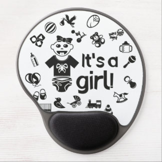 Illustration black IT'S A GIRL! Gel Mouse Pad
