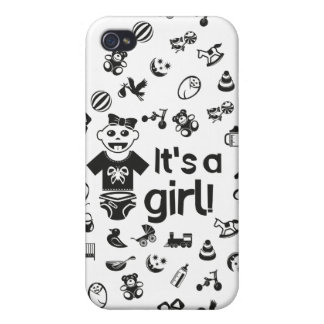 Illustration black IT'S A GIRL! iPhone 4/4S Case