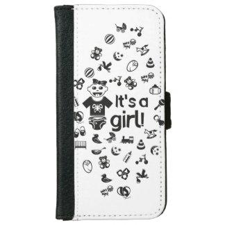 Illustration black IT'S A GIRL! iPhone 6 Wallet Case
