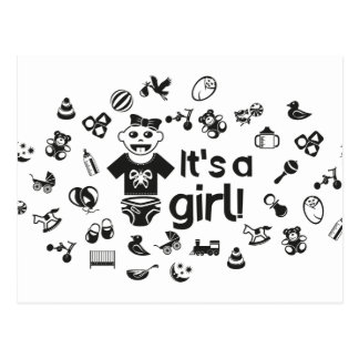 Illustration black IT'S A GIRL! Postcard