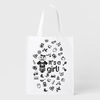 Illustration black IT'S A GIRL! Reusable Grocery Bag