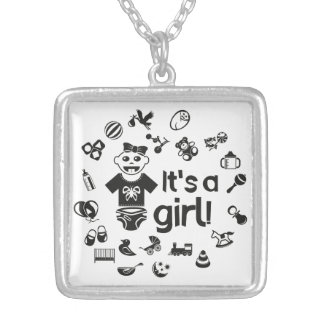 Illustration black IT'S A GIRL! Silver Plated Necklace