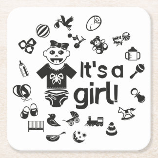 Illustration black IT'S A GIRL! Square Paper Coaster