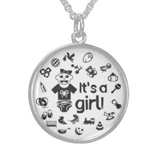 Illustration black IT'S A GIRL! Sterling Silver Necklace