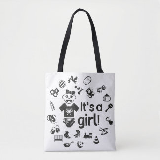Illustration black IT'S A GIRL! Tote Bag