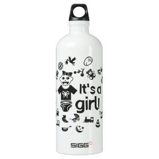 Illustration black IT'S A GIRL! Water Bottle
