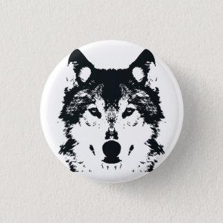 Illustration Black Wolf 1 Inch Round Button