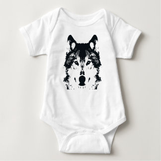 Illustration Black Wolf Baby Bodysuit