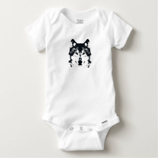 Illustration Black Wolf Baby Onesie