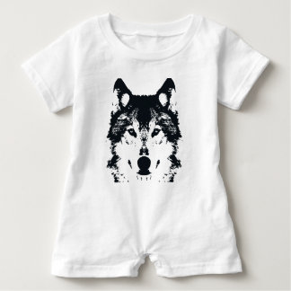Illustration Black Wolf Baby Romper