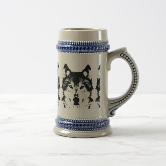 Illustration Black Wolf Beer Stein