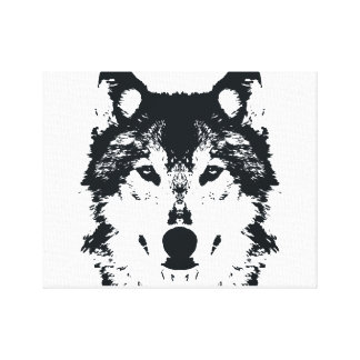 Illustration Black Wolf Canvas Print