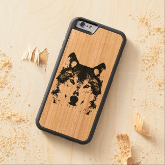 Illustration Black Wolf Carved Cherry iPhone 6 Bumper Case