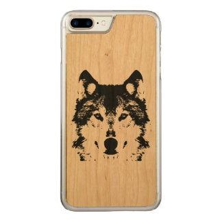 Illustration Black Wolf Carved iPhone 8 Plus/7 Plus Case
