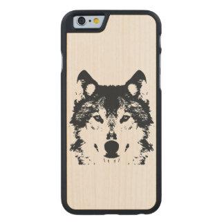 Illustration Black Wolf Carved Maple iPhone 6 Case