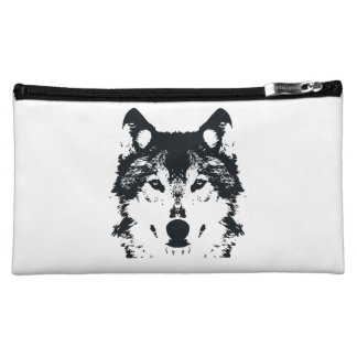 Illustration Black Wolf Cosmetic Bag