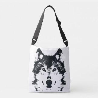 Illustration Black Wolf Crossbody Bag