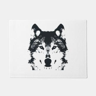 Illustration Black Wolf Doormat