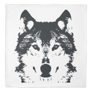 Illustration Black Wolf Duvet Cover
