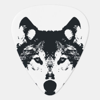 Illustration Black Wolf Guitar Pick