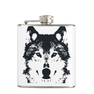 Illustration Black Wolf Hip Flask