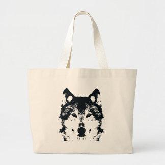 Illustration Black Wolf Large Tote Bag