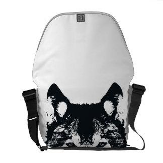 Illustration Black Wolf Messenger Bag