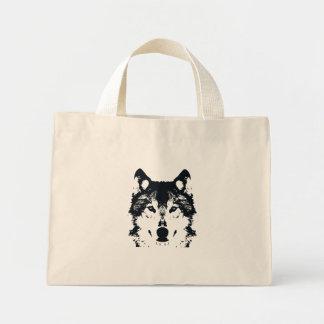 Illustration Black Wolf Mini Tote Bag